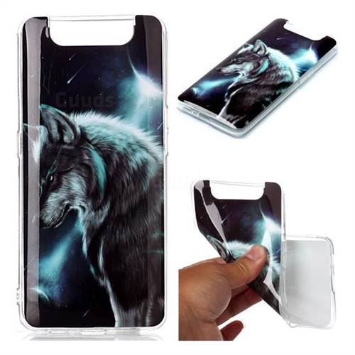 Fierce Wolf Soft TPU Cell Phone Back Cover for Samsung Galaxy A80 A90