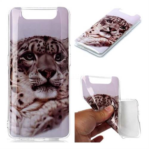 White Leopard Soft TPU Cell Phone Back Cover for Samsung Galaxy A80 A90