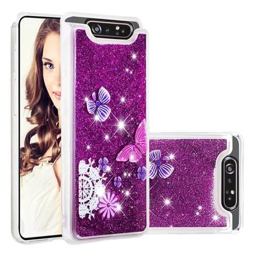 Purple Flower Butterfly Dynamic Liquid Glitter Quicksand Soft TPU Case for Samsung Galaxy A80 A90
