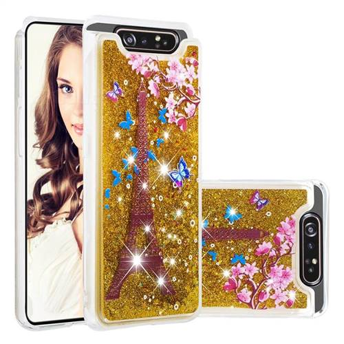 Golden Tower Dynamic Liquid Glitter Quicksand Soft TPU Case for Samsung Galaxy A80 A90
