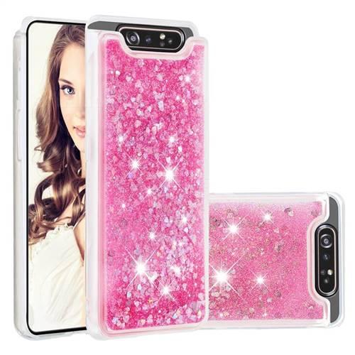 Dynamic Liquid Glitter Quicksand Sequins TPU Phone Case for Samsung Galaxy A80 A90 - Rose