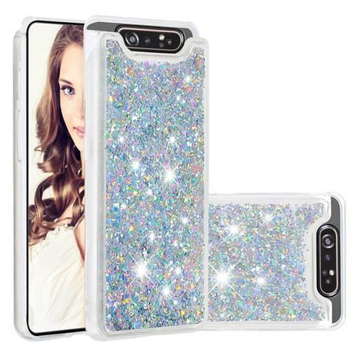 Dynamic Liquid Glitter Quicksand Sequins TPU Phone Case for Samsung Galaxy A80 A90 - Silver
