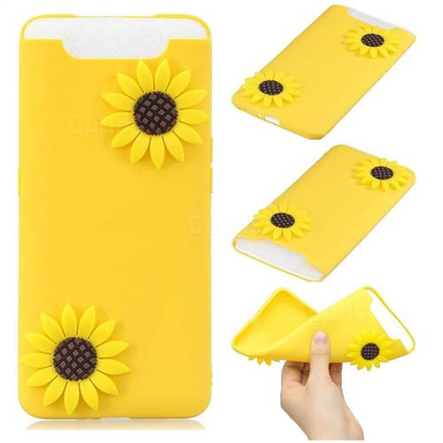 Yellow Sunflower Soft 3D Silicone Case for Samsung Galaxy A80 A90