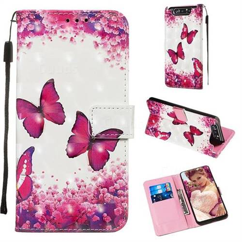 Rose Butterfly 3D Painted Leather Wallet Case for Samsung Galaxy A80 A90