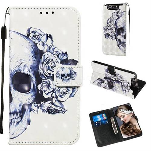 Skull Flower 3D Painted Leather Wallet Case for Samsung Galaxy A80 A90