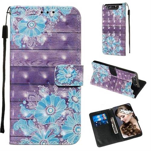 Blue Flower 3D Painted Leather Wallet Case for Samsung Galaxy A80 A90