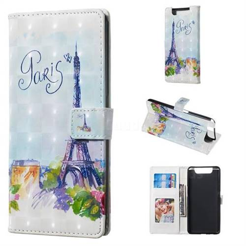 Paris Tower 3D Painted Leather Phone Wallet Case for Samsung Galaxy A80 A90