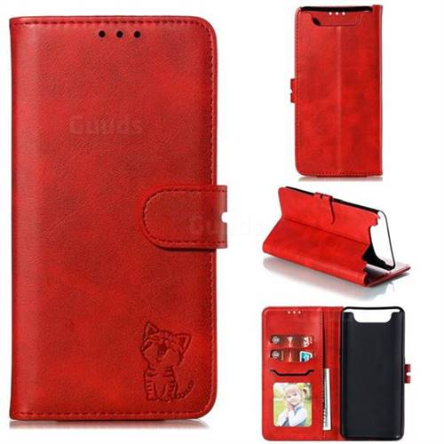 Embossing Happy Cat Leather Wallet Case for Samsung Galaxy A80 A90 - Red