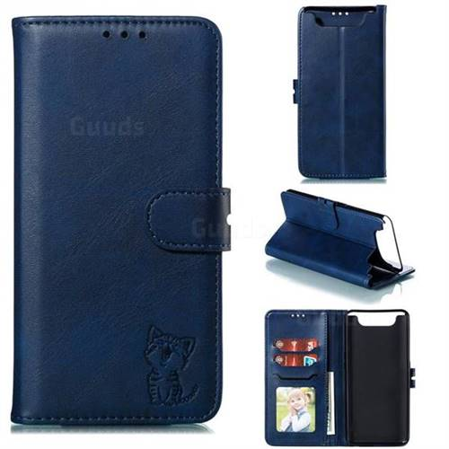Embossing Happy Cat Leather Wallet Case for Samsung Galaxy A80 A90 - Blue