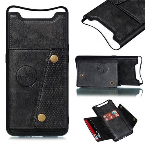 Retro Multifunction Card Slots Stand Leather Coated Phone Back Cover for Samsung Galaxy A80 A90 - Black
