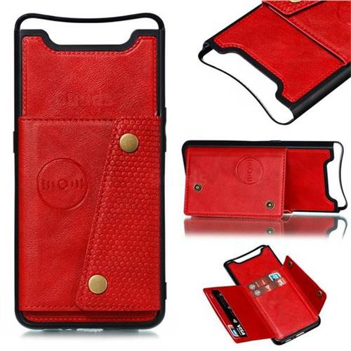 Retro Multifunction Card Slots Stand Leather Coated Phone Back Cover for Samsung Galaxy A80 A90 - Red