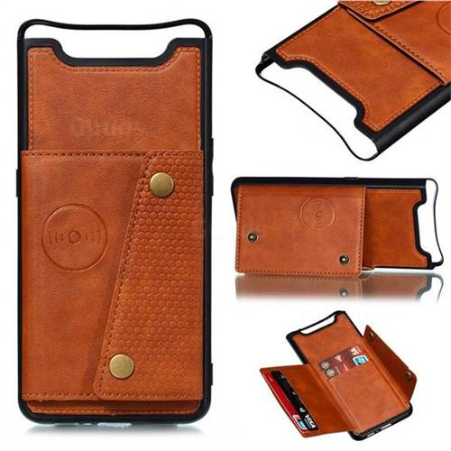 Retro Multifunction Card Slots Stand Leather Coated Phone Back Cover for Samsung Galaxy A80 A90 - Brown