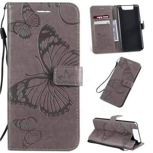 Embossing 3D Butterfly Leather Wallet Case for Samsung Galaxy A80 A90 - Gray