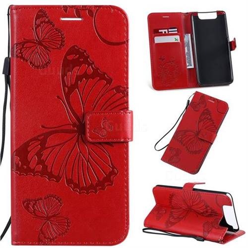 Embossing 3D Butterfly Leather Wallet Case for Samsung Galaxy A80 A90 - Red
