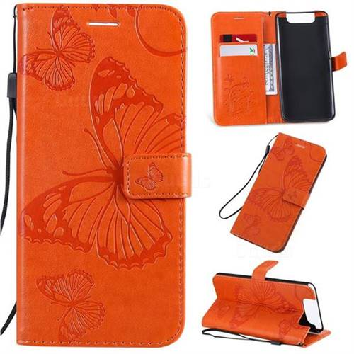 Embossing 3D Butterfly Leather Wallet Case for Samsung Galaxy A80 A90 - Orange