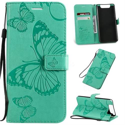 Embossing 3D Butterfly Leather Wallet Case for Samsung Galaxy A80 A90 - Green