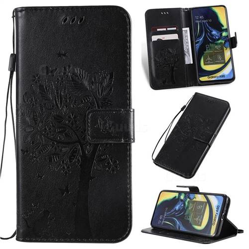 Embossing Butterfly Tree Leather Wallet Case for Samsung Galaxy A80 A90 - Black