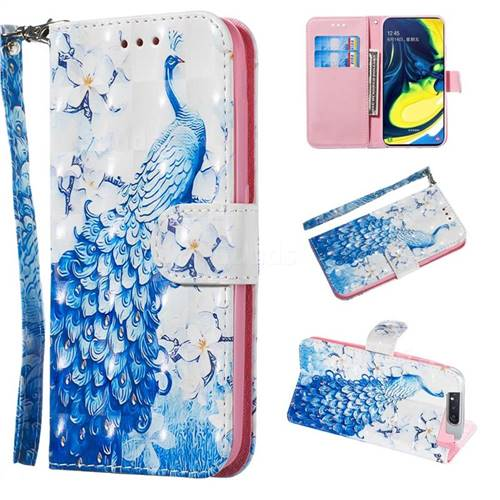 Blue Peacock 3D Painted Leather Wallet Phone Case for Samsung Galaxy A80 A90
