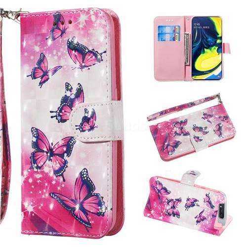 Pink Butterfly 3D Painted Leather Wallet Phone Case for Samsung Galaxy A80 A90