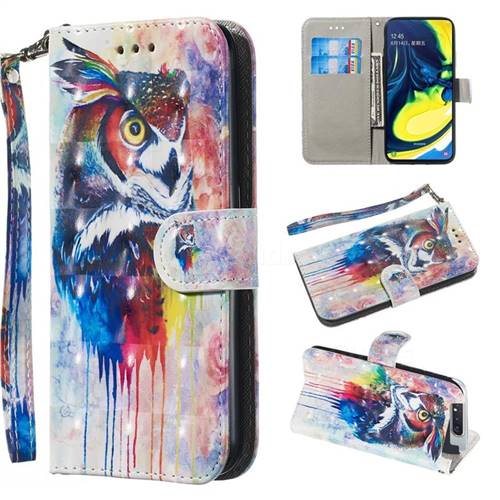 Watercolor Owl 3D Painted Leather Wallet Phone Case for Samsung Galaxy A80 A90