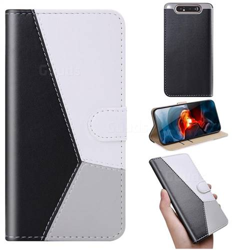 Tricolour Stitching Wallet Flip Cover for Samsung Galaxy A80 A90 - Black