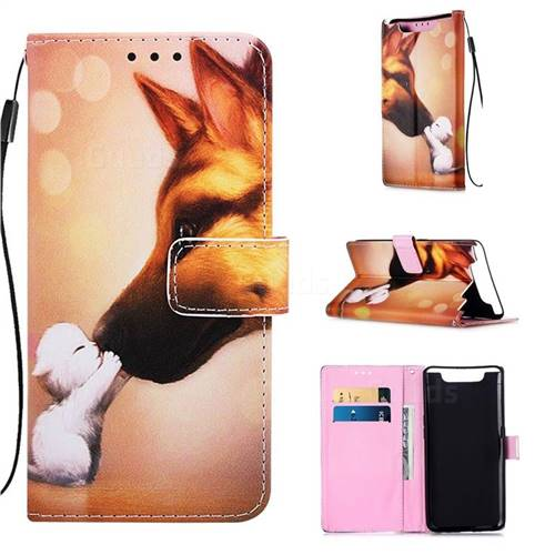 Hound Kiss Matte Leather Wallet Phone Case for Samsung Galaxy A80 A90