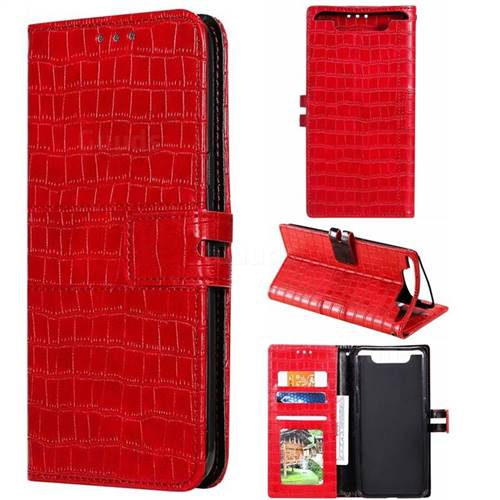 Luxury Crocodile Magnetic Leather Wallet Phone Case for Samsung Galaxy A80 A90 - Red