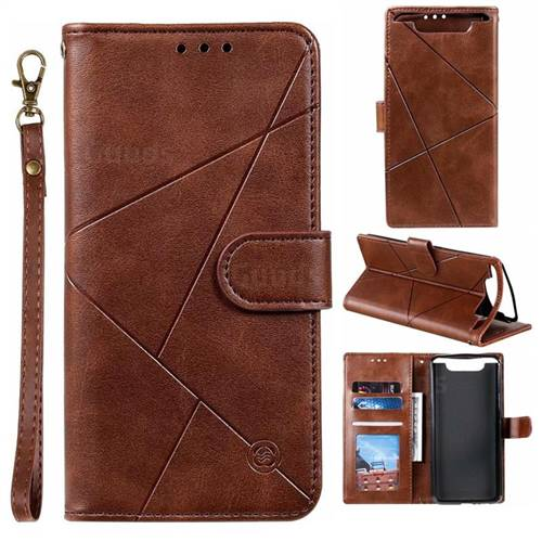 Embossing Geometric Leather Wallet Case for Samsung Galaxy A80 A90 - Brown