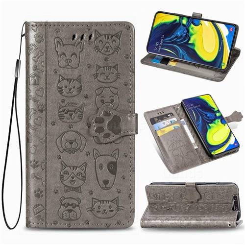 Embossing Dog Paw Kitten and Puppy Leather Wallet Case for Samsung Galaxy A80 A90 - Gray