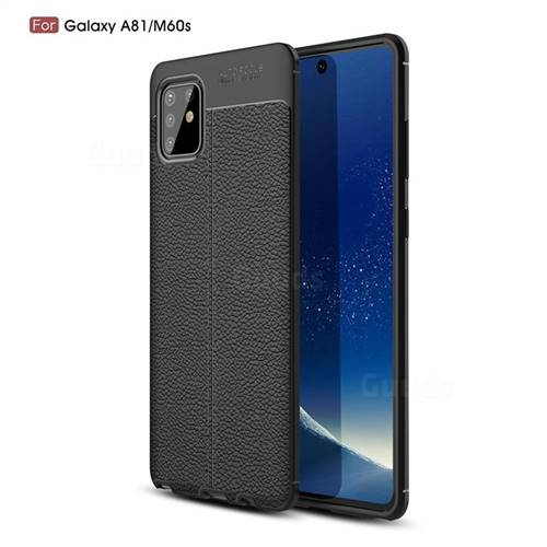 Luxury Auto Focus Litchi Texture Silicone TPU Back Cover for Samsung Galaxy A81 - Black