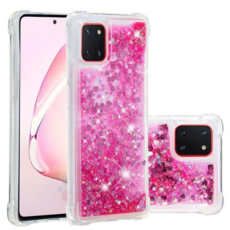 Dynamic Liquid Glitter Sand Quicksand TPU Case for Samsung Galaxy A81 - Pink Love Heart