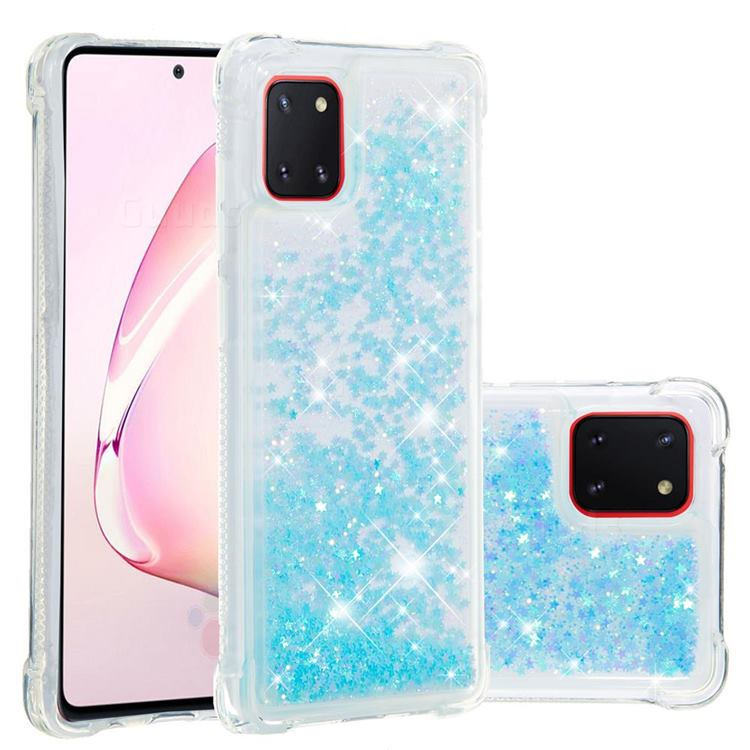 Dynamic Liquid Glitter Sand Quicksand TPU Case for Samsung Galaxy A81 - Silver Blue Star