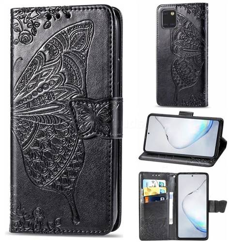 Embossing Mandala Flower Butterfly Leather Wallet Case for Samsung Galaxy A81 - Black