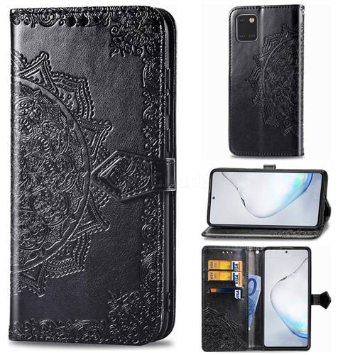 Embossing Imprint Mandala Flower Leather Wallet Case for Samsung Galaxy A81 - Black