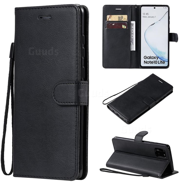 Retro Greek Classic Smooth PU Leather Wallet Phone Case for Samsung Galaxy A81 - Black
