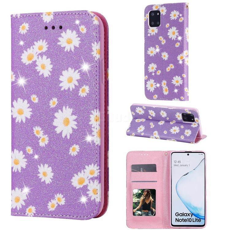 Ultra Slim Daisy Sparkle Glitter Powder Magnetic Leather Wallet Case for Samsung Galaxy A81 - Purple