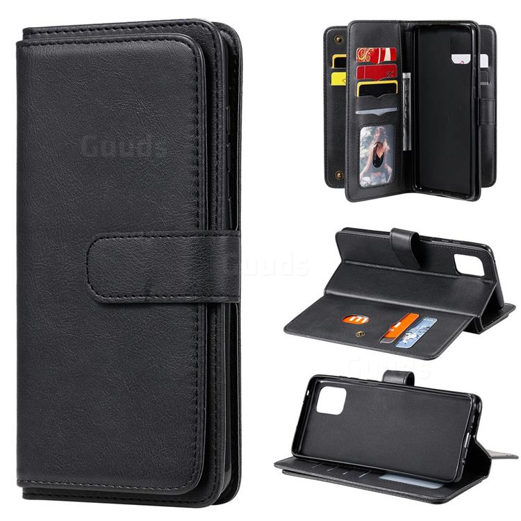 Multi-function Ten Card Slots and Photo Frame PU Leather Wallet Phone Case Cover for Samsung Galaxy A81 - Black