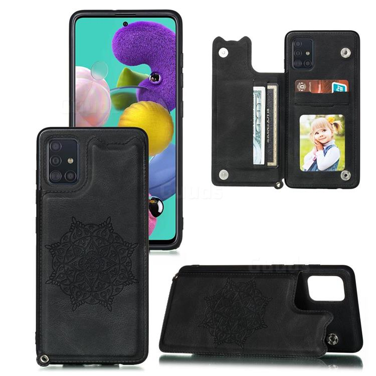 Luxury Mandala Multi-function Magnetic Card Slots Stand Leather Back Cover for Samsung Galaxy A81 - Black
