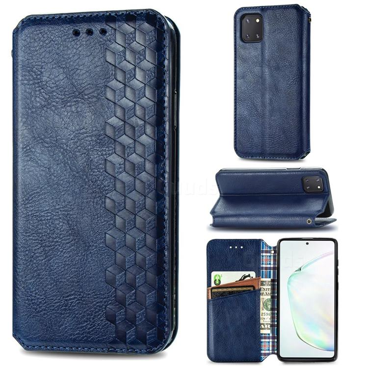 Ultra Slim Fashion Business Card Magnetic Automatic Suction Leather Flip Cover for Samsung Galaxy A81 - Dark Blue