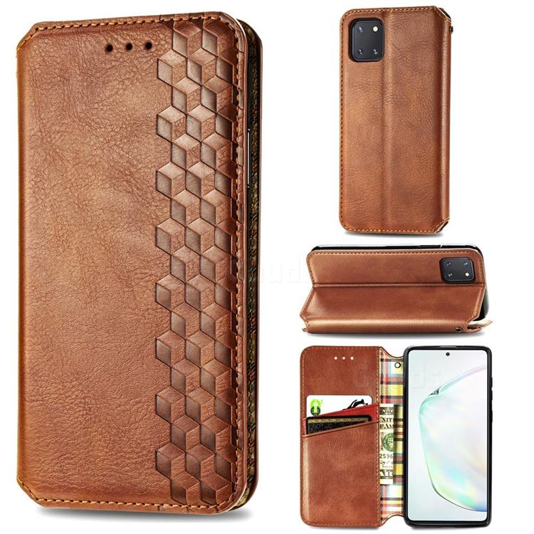 Ultra Slim Fashion Business Card Magnetic Automatic Suction Leather Flip Cover for Samsung Galaxy A81 - Brown