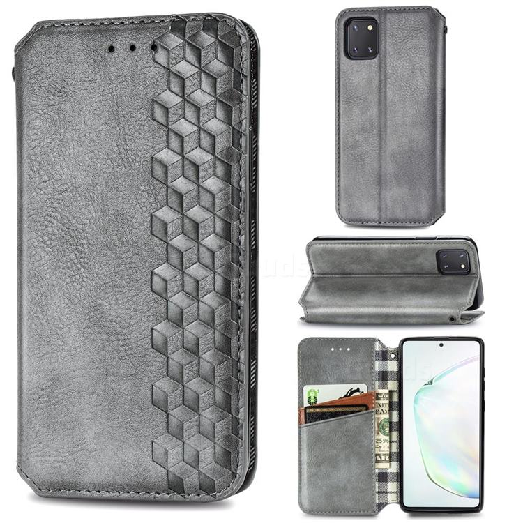 Ultra Slim Fashion Business Card Magnetic Automatic Suction Leather Flip Cover for Samsung Galaxy A81 - Grey