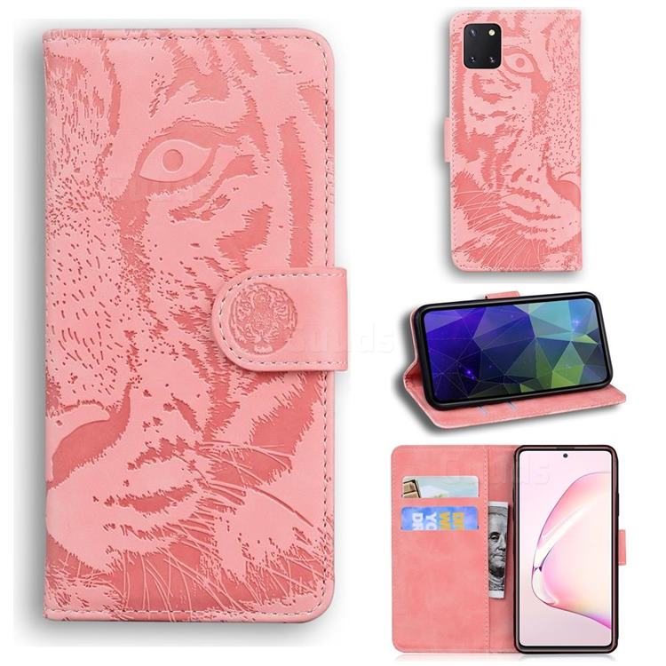 Intricate Embossing Tiger Face Leather Wallet Case for Samsung Galaxy A81 - Pink