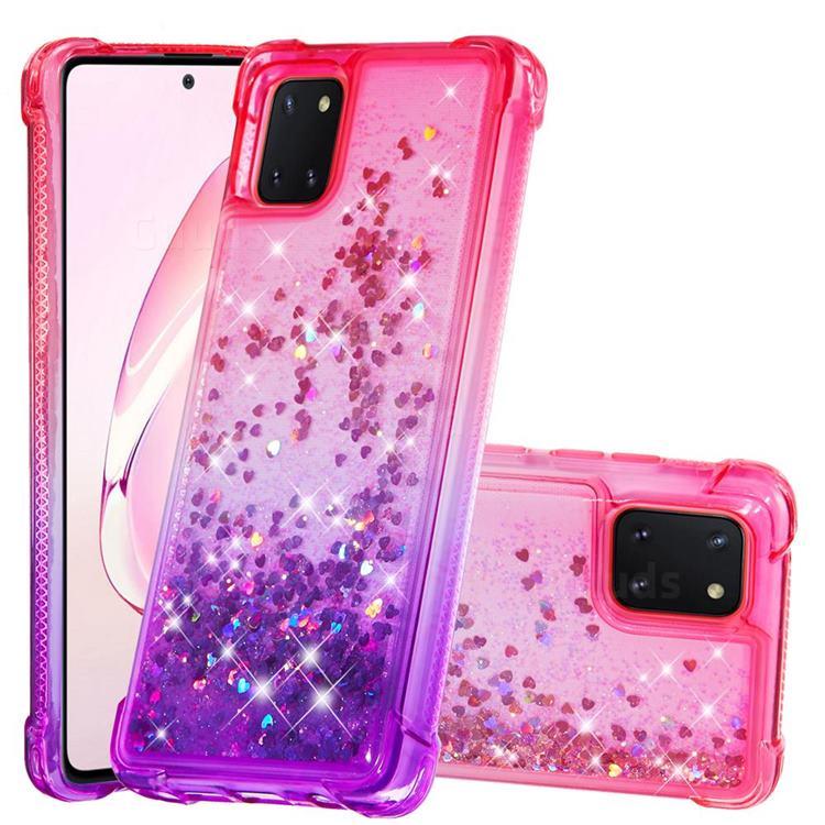 Rainbow Gradient Liquid Glitter Quicksand Sequins Phone Case for Samsung Galaxy A81 - Pink Purple
