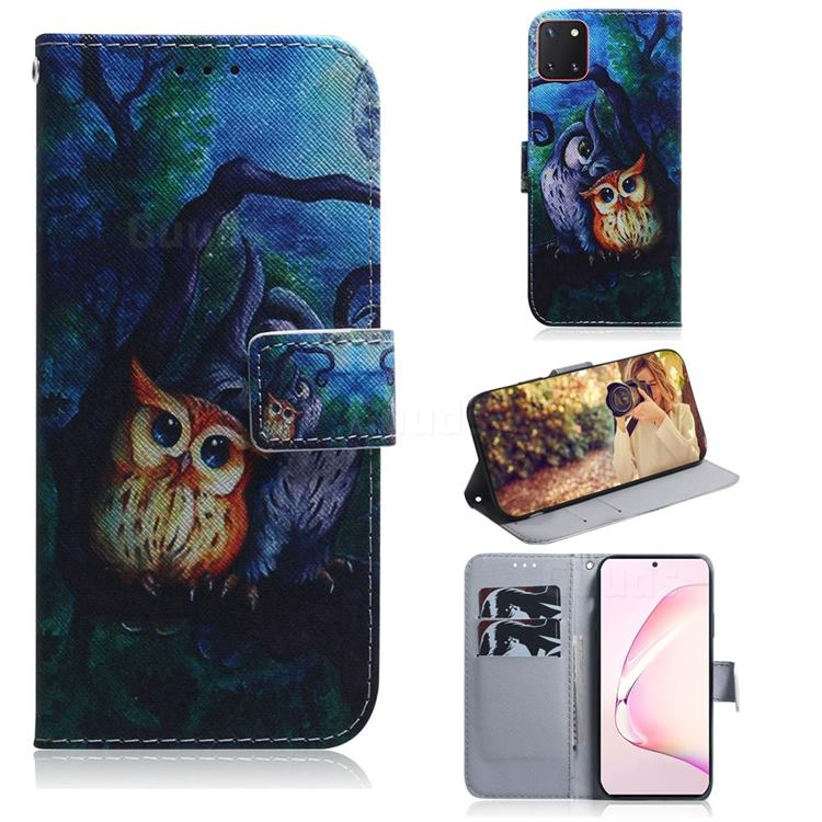 Oil Painting Owl PU Leather Wallet Case for Samsung Galaxy A81