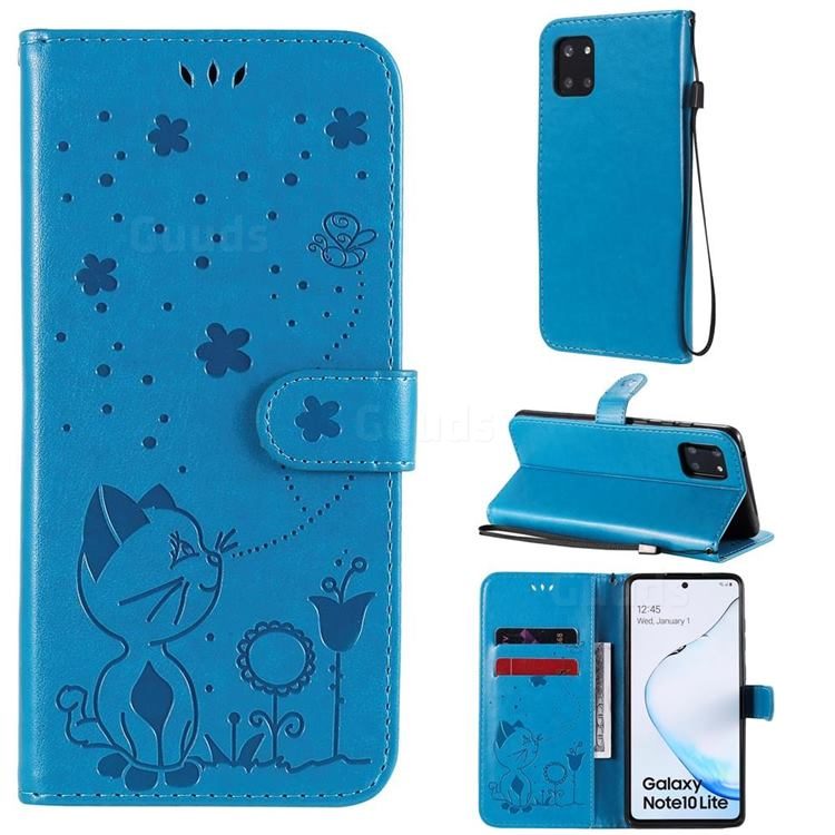 Embossing Bee and Cat Leather Wallet Case for Samsung Galaxy A81 - Blue