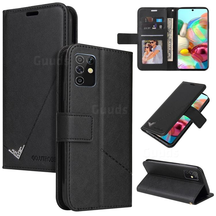 GQ.UTROBE Right Angle Silver Pendant Leather Wallet Phone Case for Samsung Galaxy A81 - Black