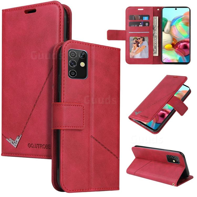 GQ.UTROBE Right Angle Silver Pendant Leather Wallet Phone Case for Samsung Galaxy A81 - Red
