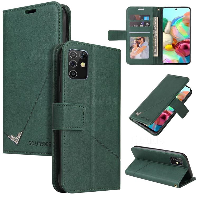 GQ.UTROBE Right Angle Silver Pendant Leather Wallet Phone Case for Samsung Galaxy A81 - Green