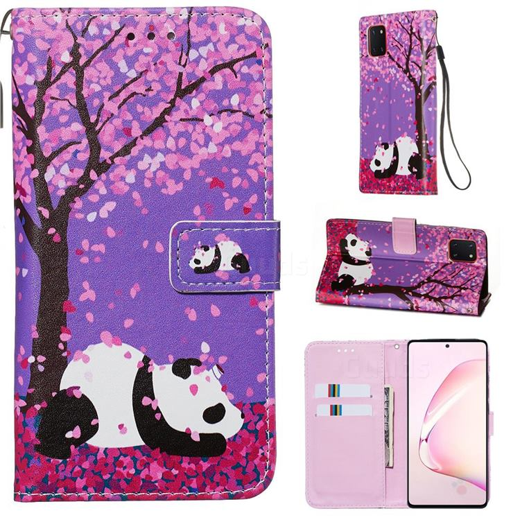 Cherry Blossom Panda Matte Leather Wallet Phone Case for Samsung Galaxy A81