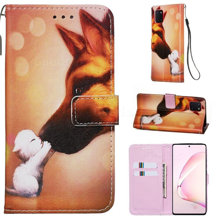 Hound Kiss Matte Leather Wallet Phone Case for Samsung Galaxy A81